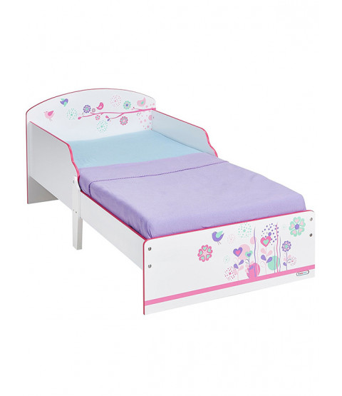 Flowers and Birds Toddler Bed Plus Deluxe Foam Mattress