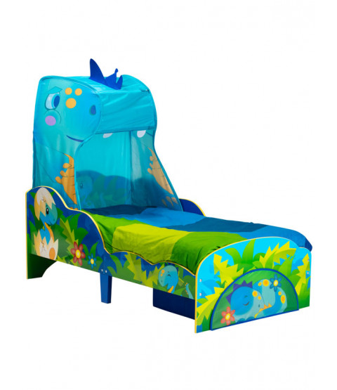 Dinosaur Toddler Bed with Storage and Canopy