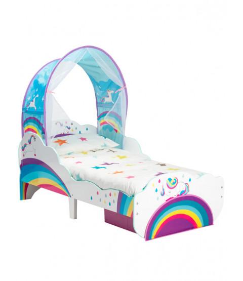 Cama infantil Unicorn Rainbow con colchón de resortes, almacenamiento y dosel