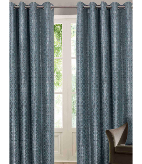 Belle Maison Lined Eyelet Curtains - Tuscany Range, Duck Egg