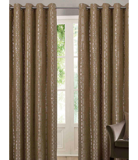 Belle Maison Lined Eyelet Curtains - Tuscany Range, Ochre