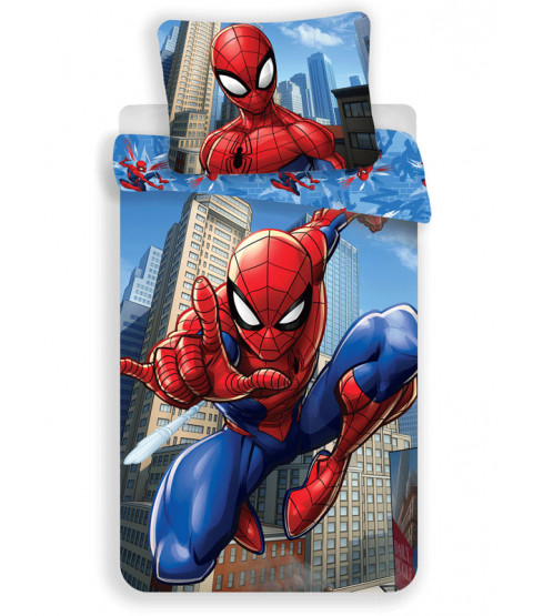Set piumone singolo in cotone blu Spiderman - Misura europea