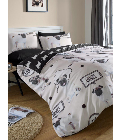 Pug Walkies Double Duvet Cover