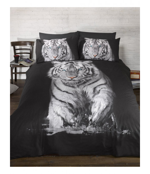 White Tiger Single Duvet Cover and Pillowcase Set