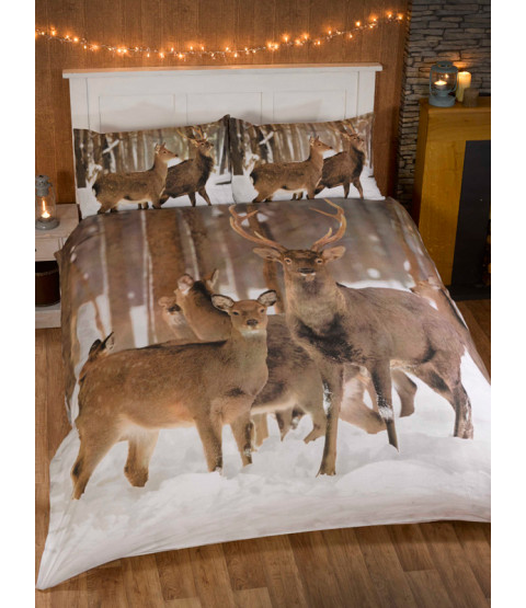 Winter Stag Single Duvet Cover and Pillowcase Set