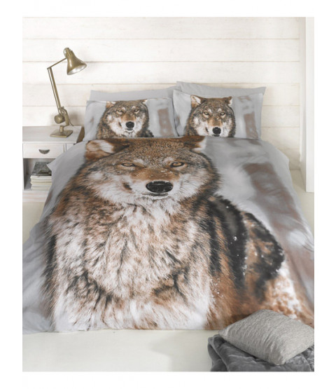 Wolf Design Single Duvet Cover and Pillowcase Set
