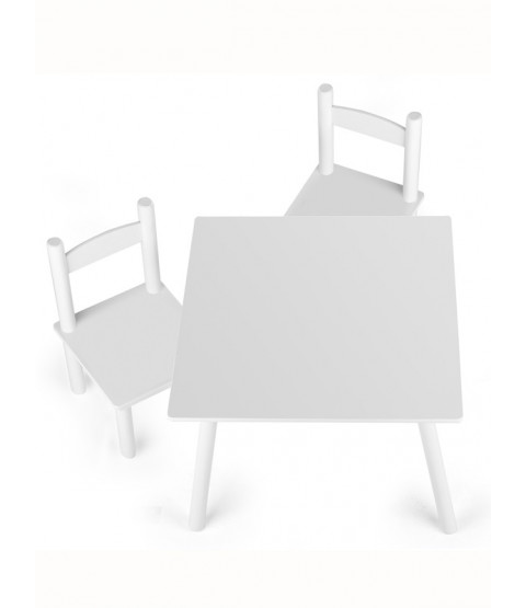 Wooden Table and Chairs - White