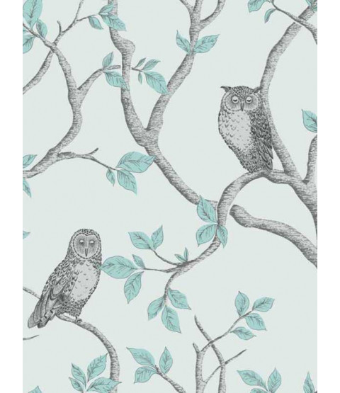 Woodland Owls Wallpaper - FD40638 - Teal