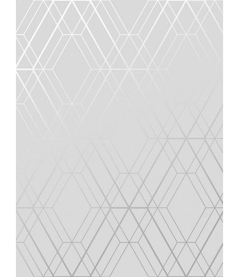 Papel pintado geométrico Metro Diamond gris y plateado WOW001