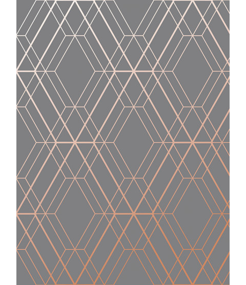 Metro Diamond Geometric Wallpaper Charcoal and Copper WOW002