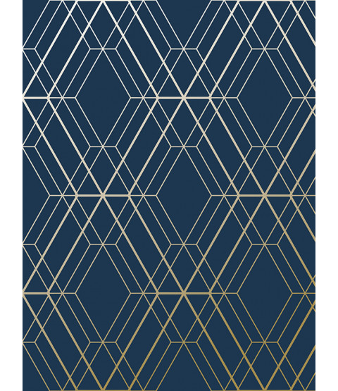 Metro Diamond Geometric Wallpaper Navy Blue and Gold WOW003