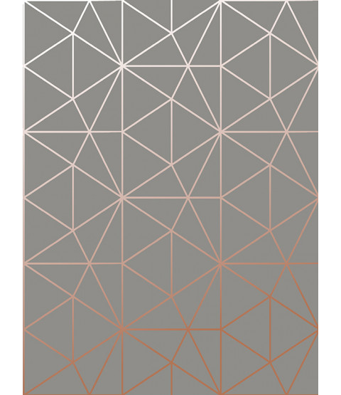 Metro Prism Geometric Triangle Wallpaper Charcoal and Copper WOW007