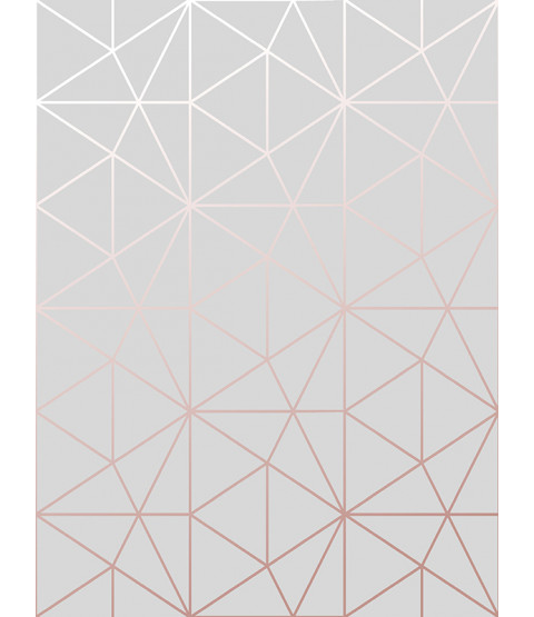 Metro Prism Geometric Triangle Wallpaper Grey and Rose Gold WOW009