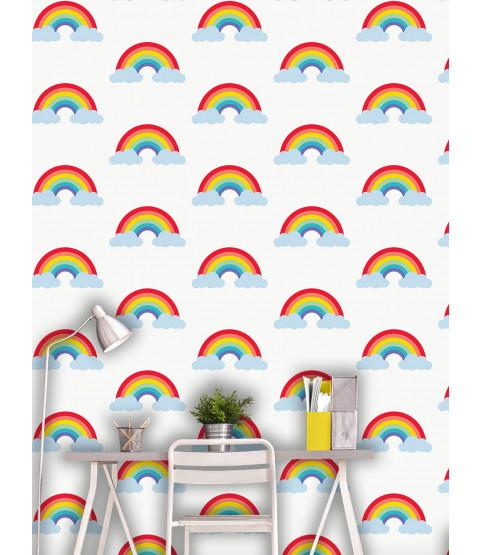 Kids Rainbow Wallpaper White and Multi - World of Wallpaper WOW041