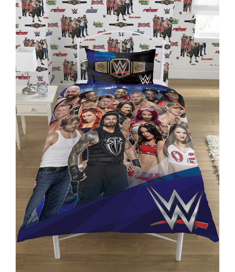 WWE Face V Heel Single Panel Duvet Cover and Pillowcase Set
