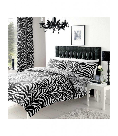Zebra and Leopard Print Single Reversible Duvet Cover Set