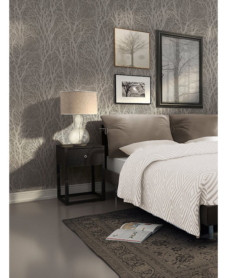 Tree branches wallpaper dark grey and silver as creation for Tree wallpaper bedroom