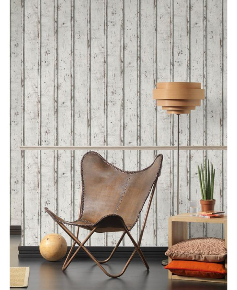 Rustic wood planks wallpaper white as creation 9537 01 for Wooden wallpaper price
