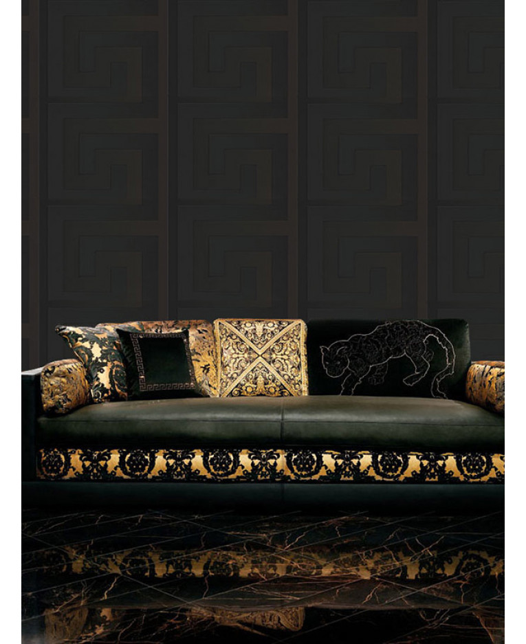 Versace Greek Key Wallpaper 10m X 70cm Black 93523 4 Feature