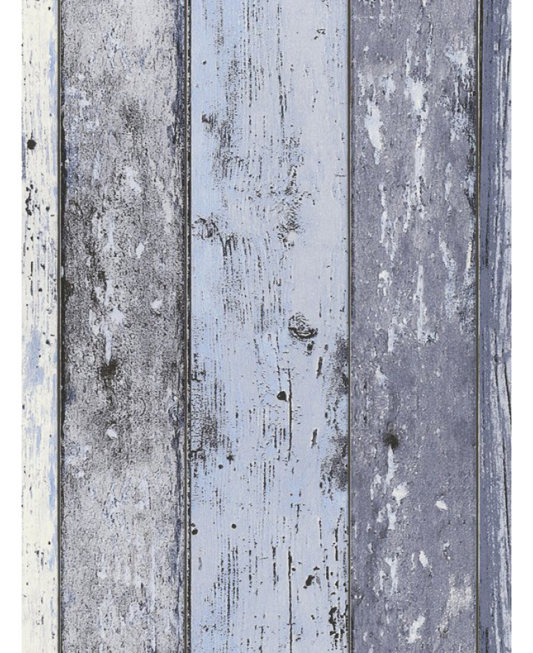 Distressed Wood Panel Wallpaper Blue As Creation 8550 60