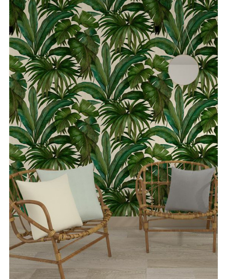 Versace Giungla Palm Leaves Wallpaper Green And Cream 10m X 70cm 96240 5