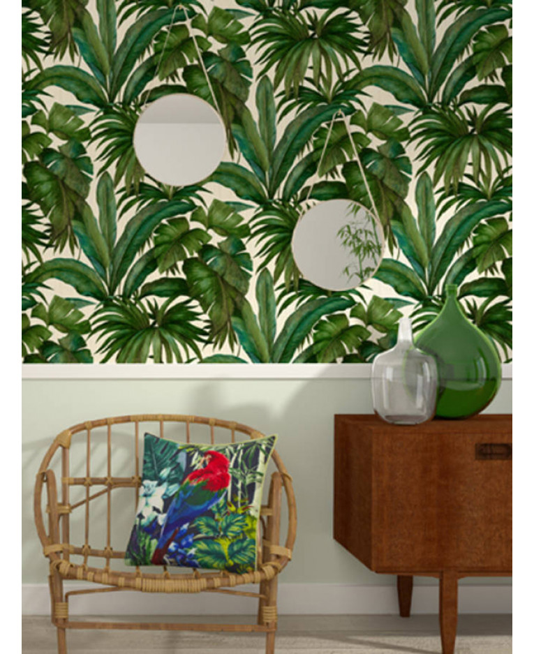 Versace giungla palm leaves wallpaper green and cream for Wallpaper versace home