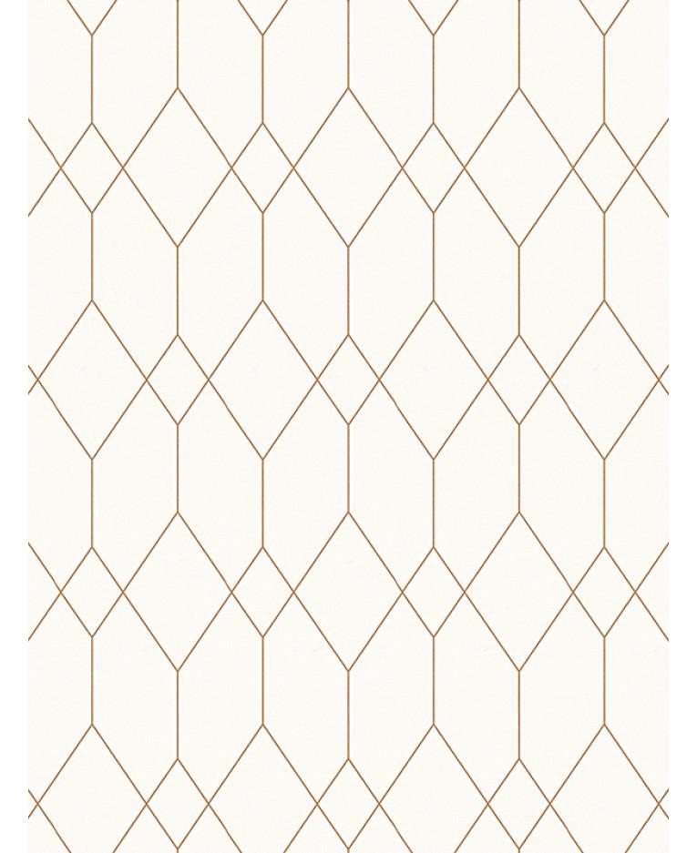Geometric Diamond Wallpaper White Copper Esprit 32792 1