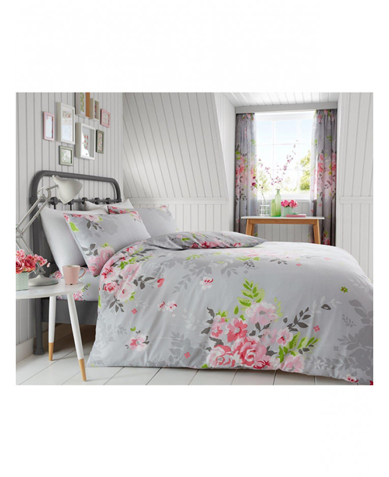 Grey And Pink Alice Fl King Duvet Cover Pillowcase Set