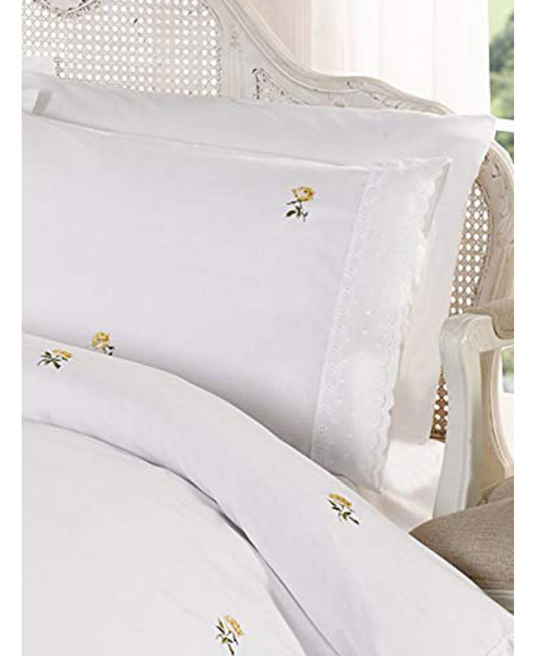 alicia floral white yellow king size duvet cover and pillowcase set. Black Bedroom Furniture Sets. Home Design Ideas