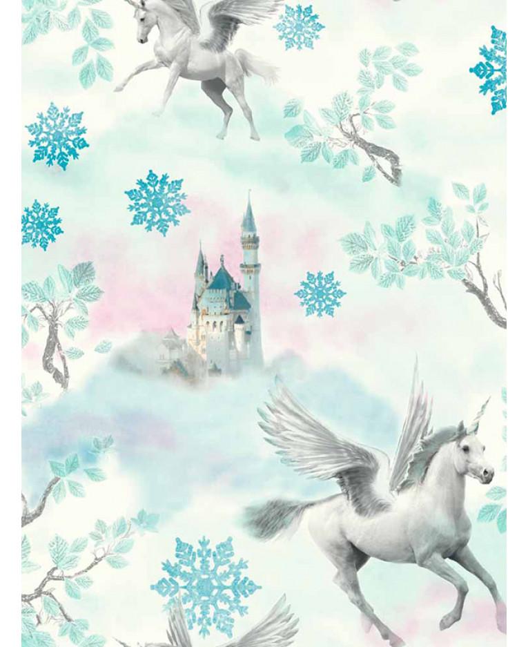 Fairytale Unicorn Wallpaper With Blue Glitter Finish