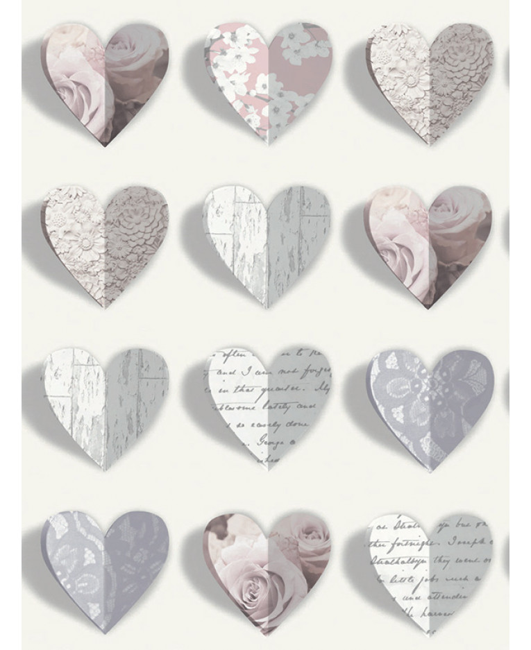OLIVIA BLUSH HEARTS SCRIPT FLORAL FLOWERS QUALITY ARTHOUSE WALLPAPER 669701