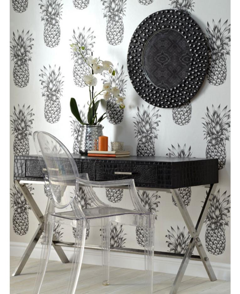 Tropics Copacabana Pineapple Wallpaper Black Amp White