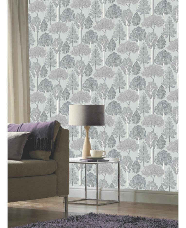 Ellwood trees wallpaper silver 670002 for Tree wallpaper for home