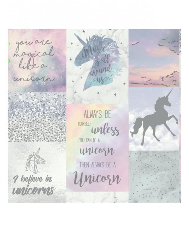Believe In Unicorns: Rainbow Unicorn Glitter Wallpaper Pink Arthouse 696108