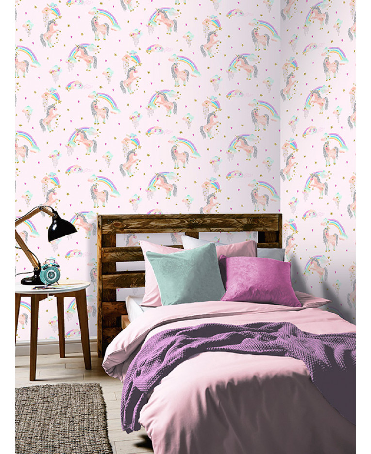 Rainbow Unicorn Glitter Wallpaper Bedroom Pink Arthouse 696108