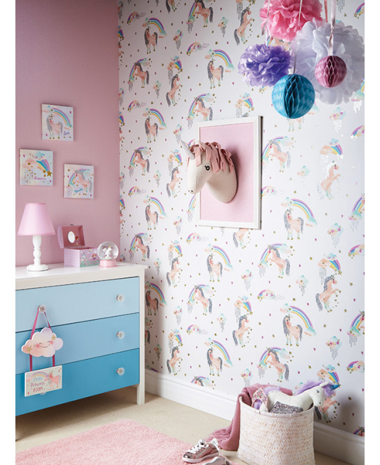 Rainbow Unicorn Glitter Wallpaper White Arthouse 696109 Bedroom