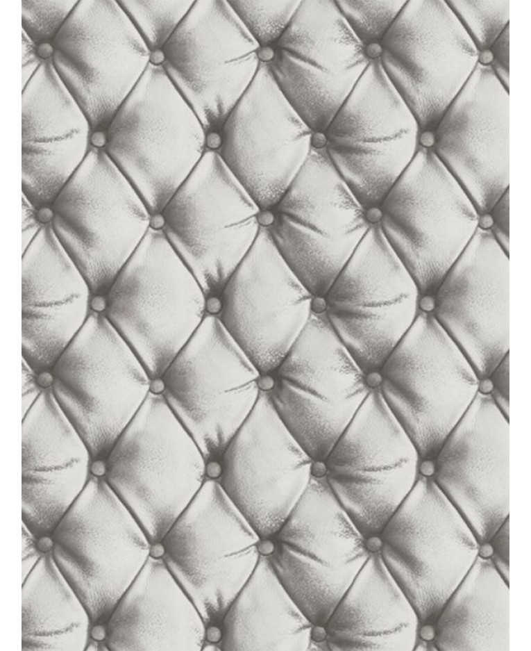 Desire Chesterfield Leather Effect Wallpaper Silver