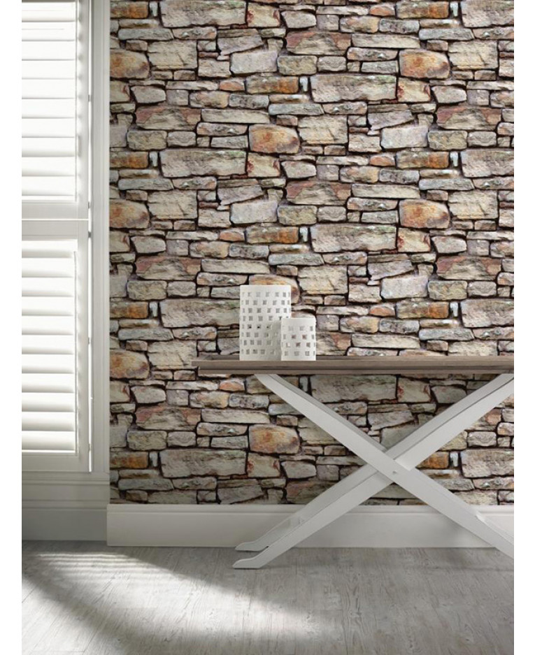 Cornish stone wallpaper brown arthouse 668900 for Stone wallpaper for living room