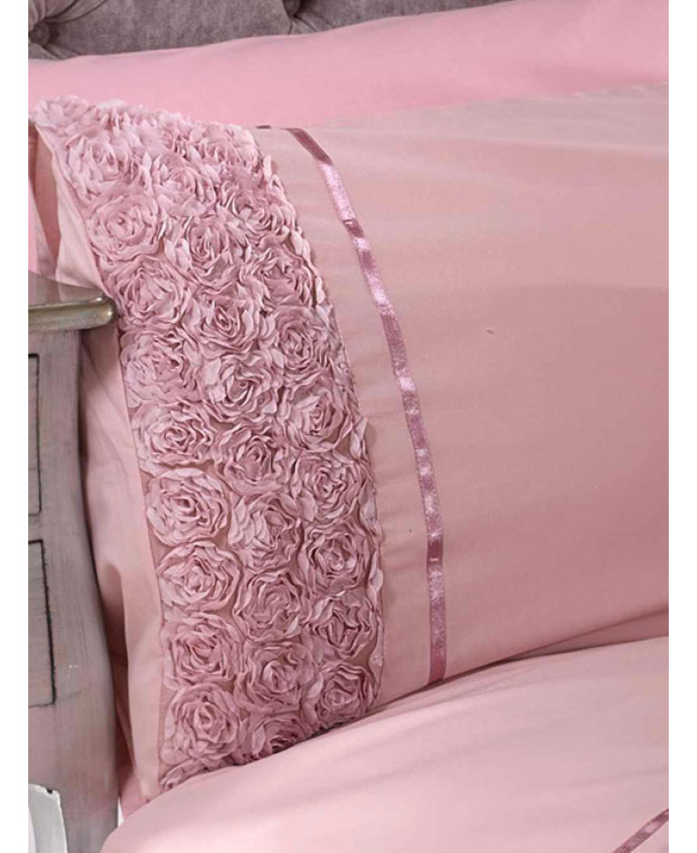 0e3c60090431 Limoges Rose Ruffle Blush Pink King Size Quilt Cover and Pillowcase Set