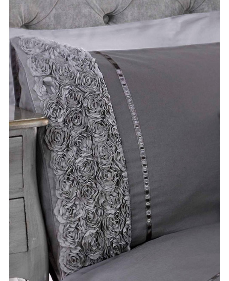 3690089495aa Limoges Rose Ruffle Grey King Size Quilt Cover and Pillowcase Set