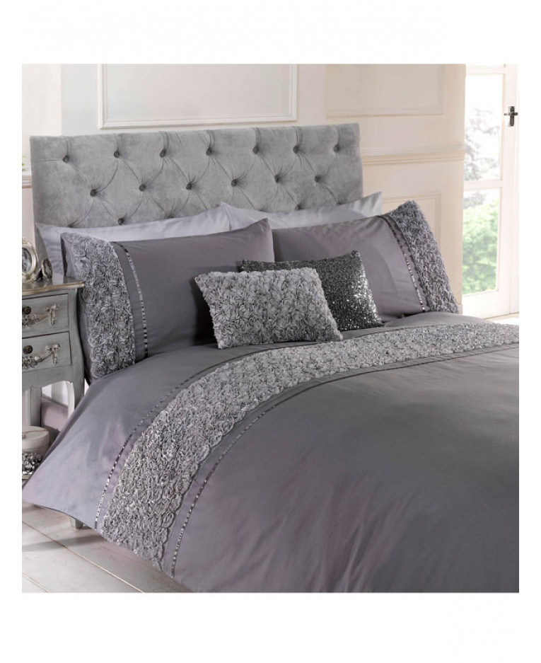 4d08e5878a42 Limoges Rose Ruffle Grey Super King Duvet Cover and Pillowcase Set