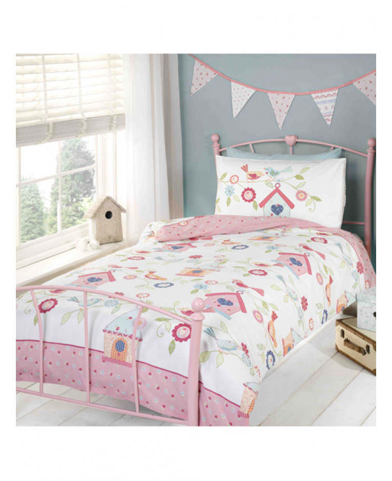 Bird house single reversible duvet cover and pillowcase set for Housse couette ado