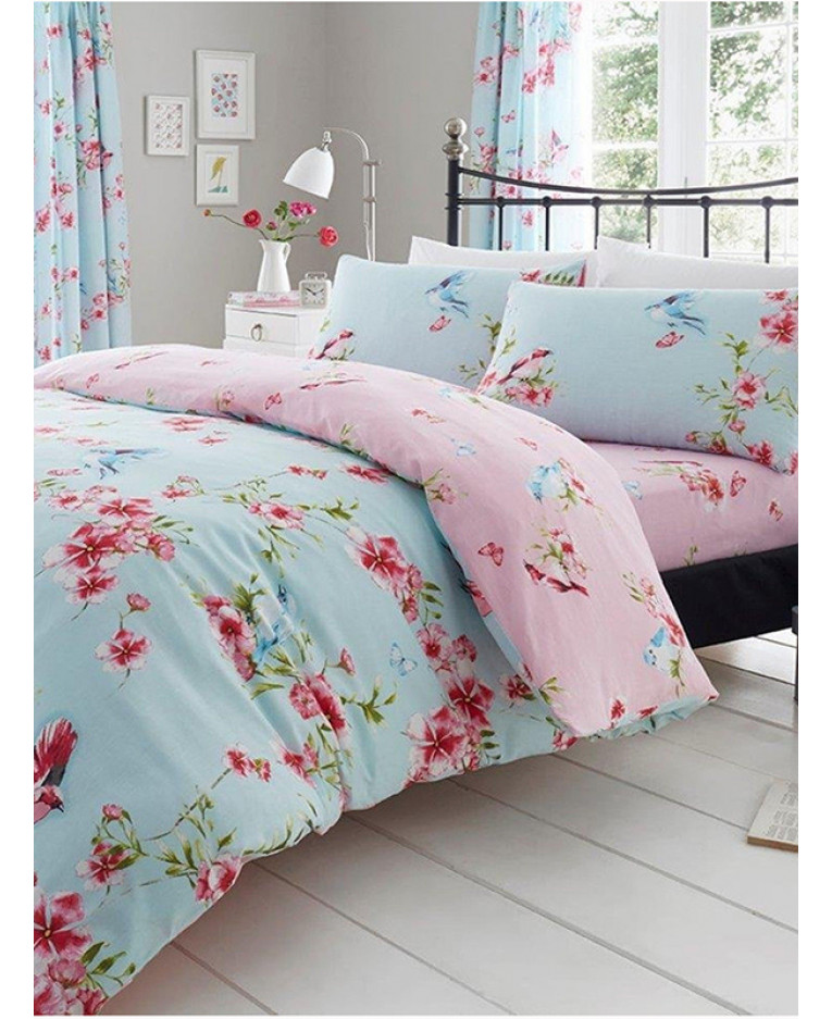VINTAGE BIRDS MINT KING SIZE DUVET COVER /& PILLOWCASES 2 DESIGNS IN 1 NEW