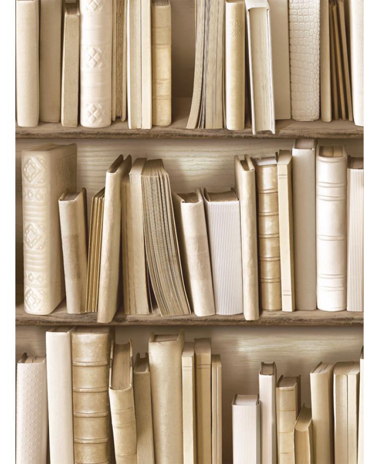 Bookcase Wallpaper Natural J43027