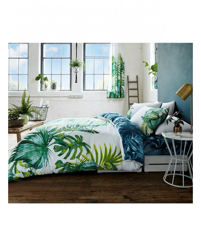 Palm Leaves Double Duvet Cover And Pillowcase Set Botanical