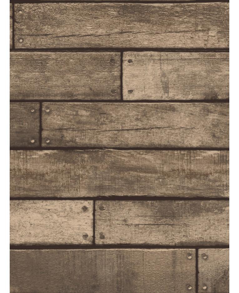 Brown wooden plank effect wallpaper fine decor for Wooden wallpaper price