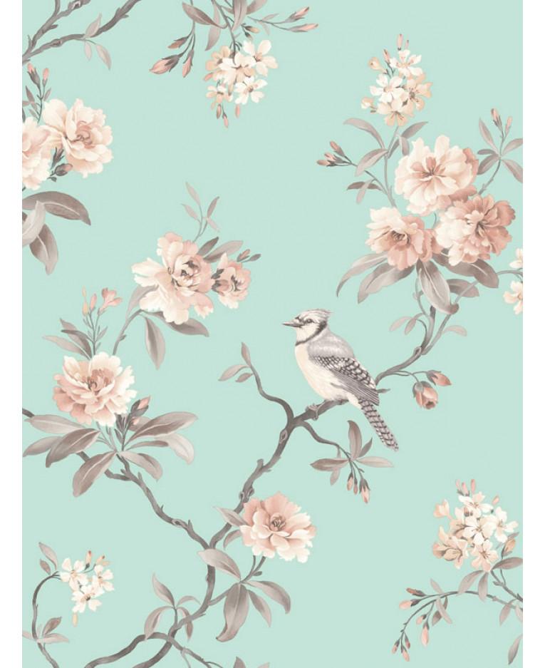 Chinoiserie Bird Wallpaper Teal Fd40768 Decor Feature