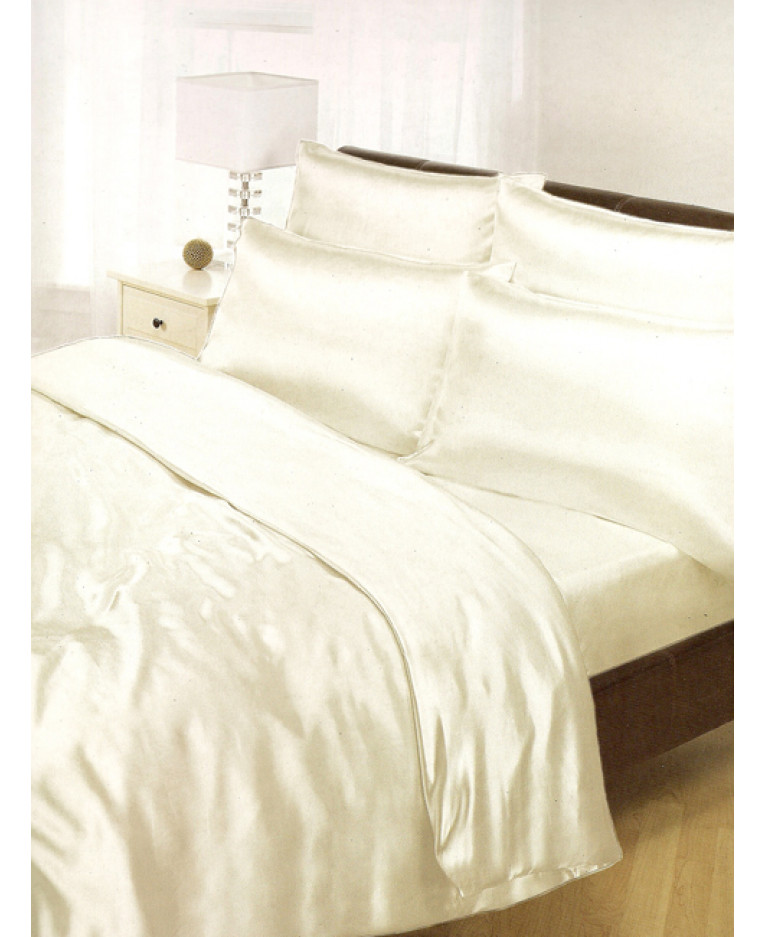 Cream Satin Duvet Cover, Fitted Sheet And Pillowcases