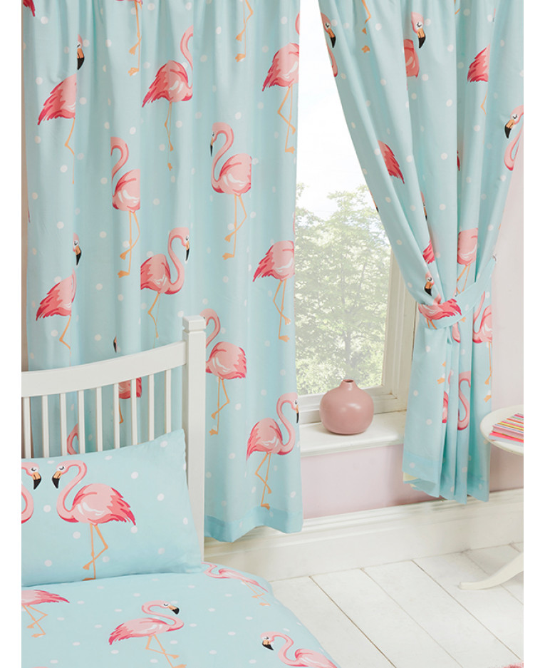 Fifi Flamingo Lined Curtains Bedroom Kids Polka Dot