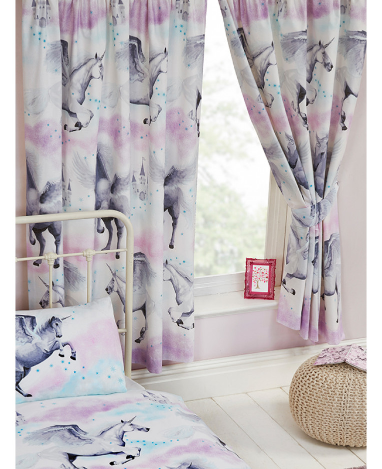 Stardust Unicorn Lined Curtains Purple And Teal Bedroom Kids
